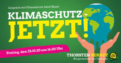 Klimaschutz Jetzt: Talk mit Aktivist Jacob Blasel und Thorsten Berndt @ Parkpalette Uetersen